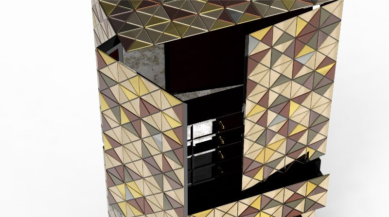 The Pixel Sideboard - A Reflective Modern Design