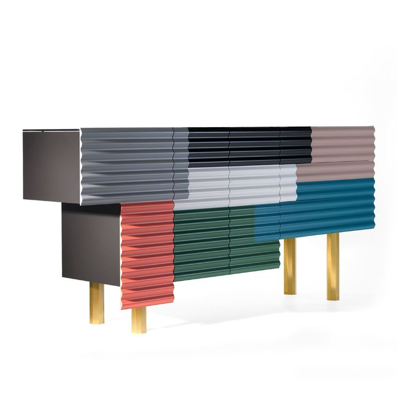 Doshi Levien's Colorful Corrugated Patchworks On His Modern Cabinets