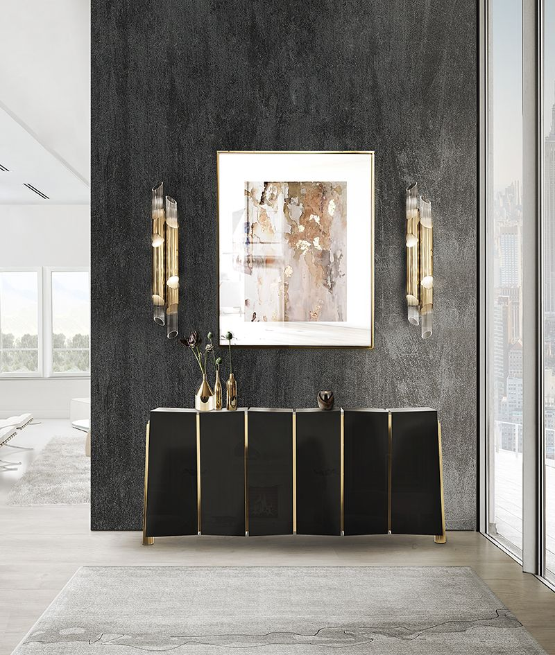 Modern Sideboards With Golden Details For A Unique And Luxury Design