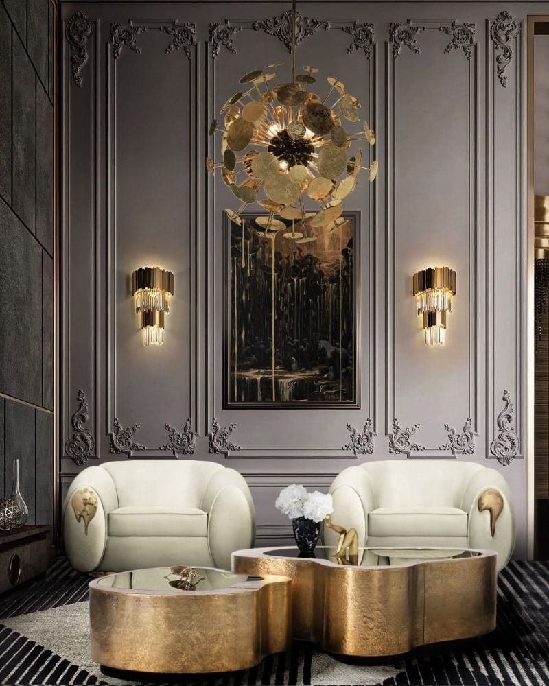 Modern Inspirations For a Luxury Home Design Wave Gold Coffee Table