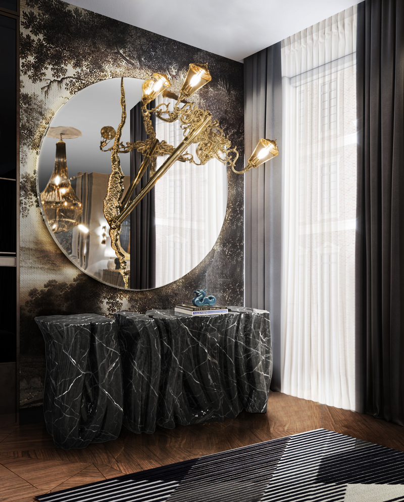 Luxury Mirrors That Will Make Your Master Bedroom Bigger Lumiere Round Mirror Lamp