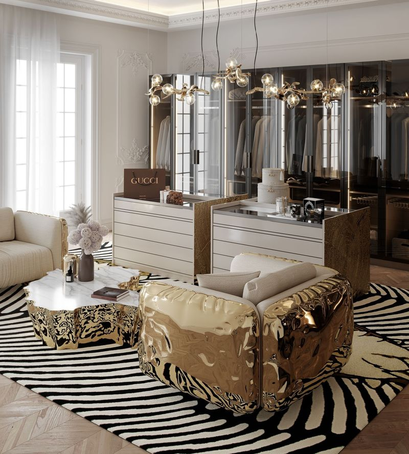 Luxury Mirrors That Will Make Your Master Bedroom Bigger Imperfectio Armchair in Walk-in Closet