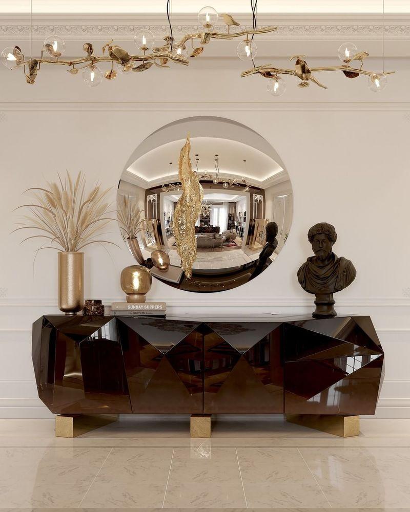 Luxury Mirrors That Will Make Your Master Bedroom Bigger Lapiaz Mirror Diamond Chocolate Sideboard